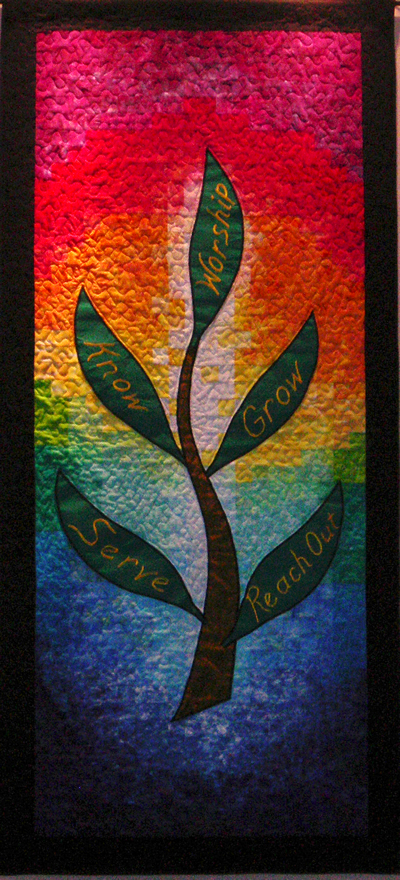 Jubilee Mennonite Church banner: Reach Out, Serve, Know one another, Grow, Worship